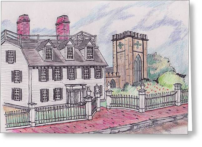 Rope Drawings Greeting Cards - Ropes Mansion Salem MA Greeting Card by Paul Meinerth