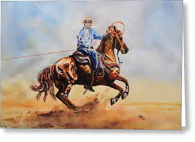 Quarter Horse Mixed Media Greeting Cards - Roping Action Greeting Card by Leonie Bell
