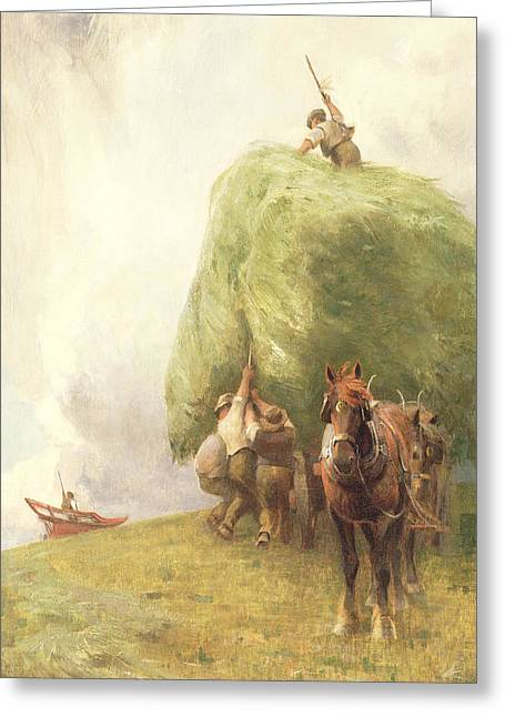 Henry Greeting Cards - Roping the Wagon Greeting Card by Henry H Sands