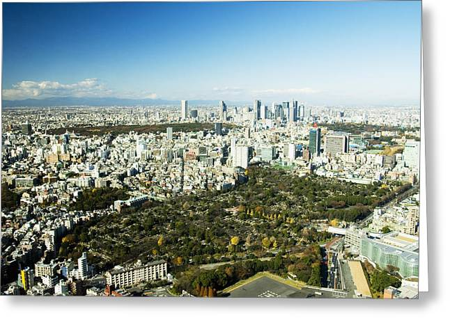 Unique View Greeting Cards - Roppongi Aerial veiw Greeting Card by Bill Brennan - Printscapes