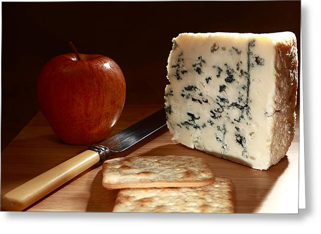 Royal Gala Greeting Cards - Roquefort and apple low angle Greeting Card by Paul Cowan