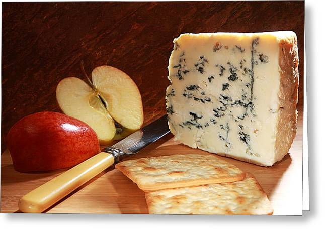 Royal Gala Greeting Cards - Roquefort and apple  Greeting Card by Paul Cowan