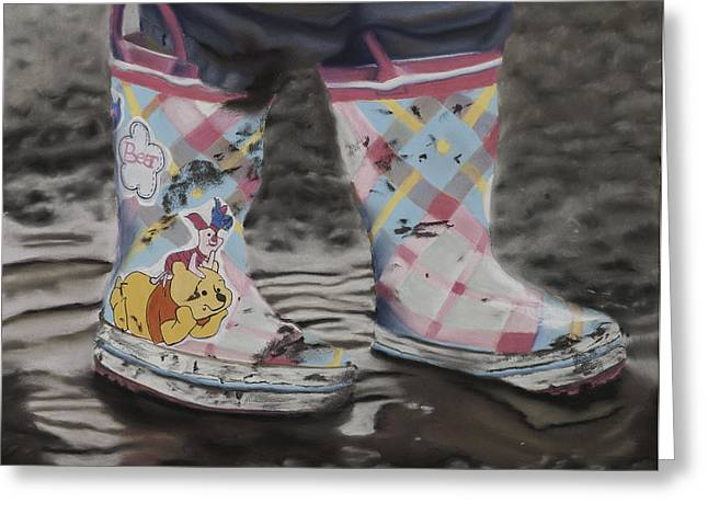 Puddle Pastels Greeting Cards - Ros Boots Greeting Card by Kym Nippes