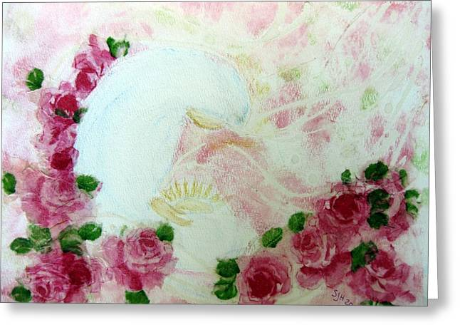 Baby Jesus Mixed Media Greeting Cards - Rosa Mistica Greeting Card by Sarah Hornsby