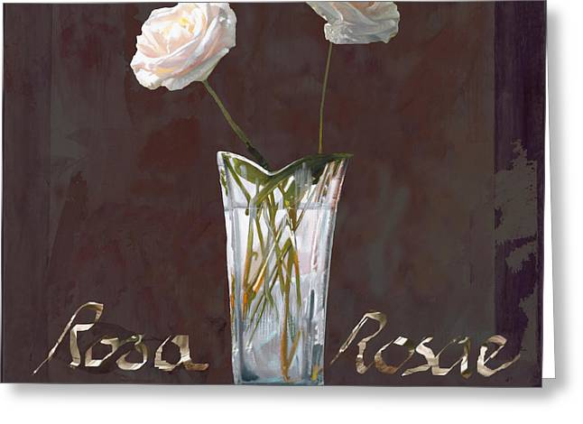 White Rose Greeting Cards - Rosa Rosae Greeting Card by Guido Borelli
