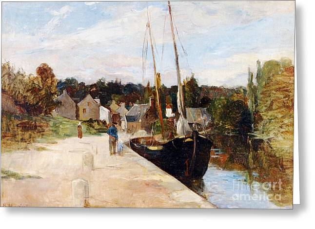 Docked Sailboat Greeting Cards - Rosbras in Brittany Greeting Card by Berthe Morisot