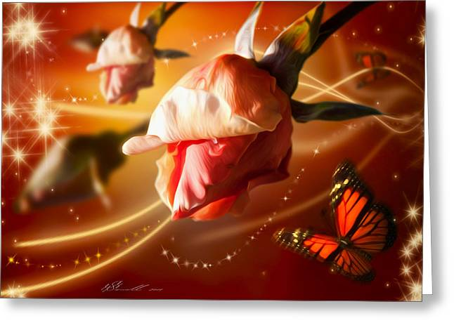 Delicate Mixed Media Greeting Cards - Rose and Butterfly Greeting Card by Svetlana Sewell
