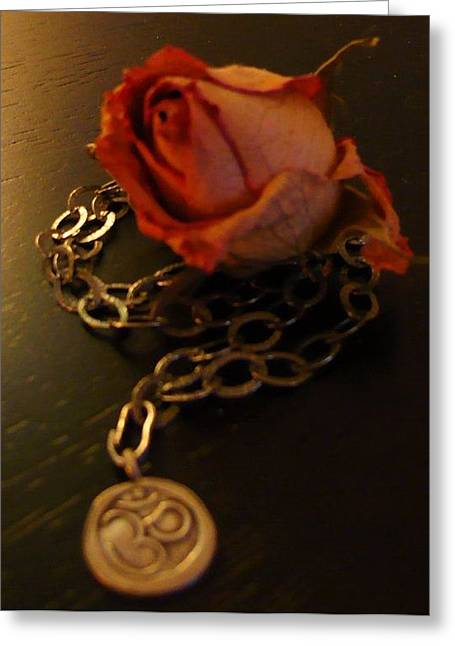 Rose And Om Greeting Card by Debra Jacobson