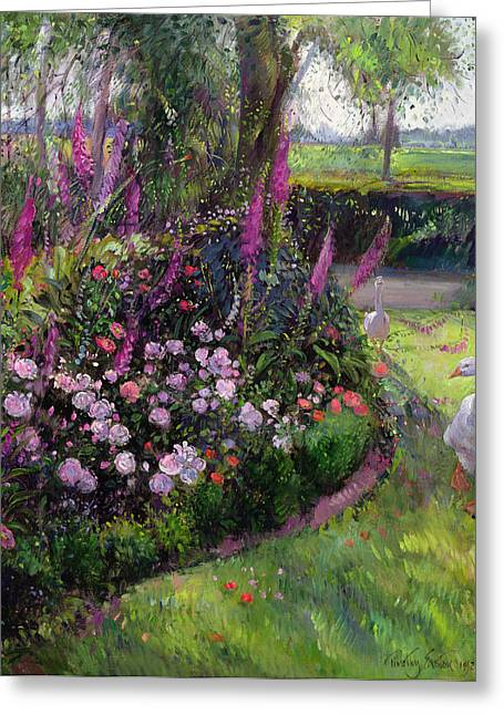 Roses Paintings Greeting Cards - Rose Bed and Geese Greeting Card by Timothy Easton