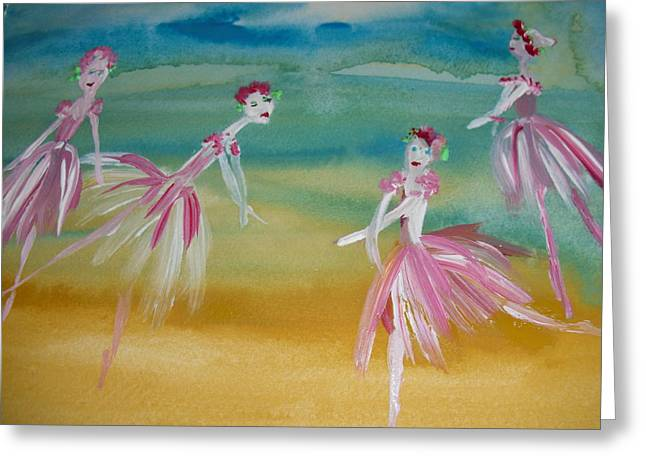 Dance Ballet Roses Greeting Cards - Rose bud Ballet Greeting Card by Judith Desrosiers