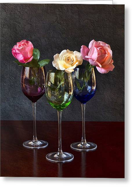 Table Wine Greeting Cards - Rose Colored Glasses Greeting Card by Peter Chilelli