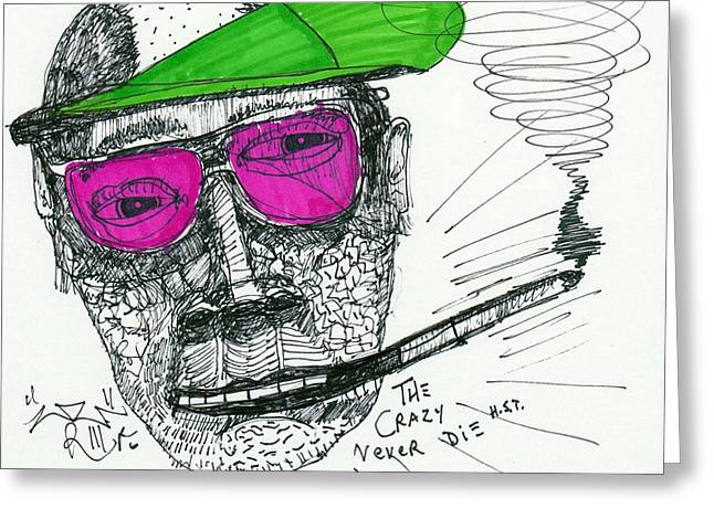 Neo-expressionism Greeting Cards - Rose Colored Glasses Greeting Card by Robert Wolverton Jr