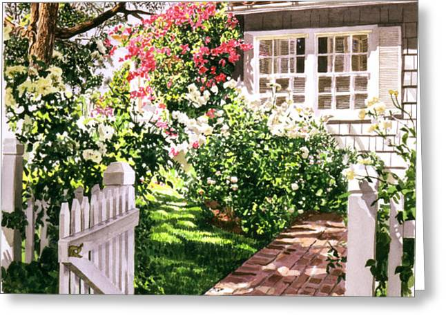 Rose Cottage Gate Greeting Card by David Lloyd Glover