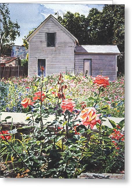Shack Greeting Cards - Rose Garden Greeting Card by David Lloyd Glover