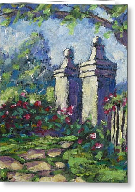 Nature Scene Paintings Greeting Cards - Rose Garden Greeting Card by Richard T Pranke