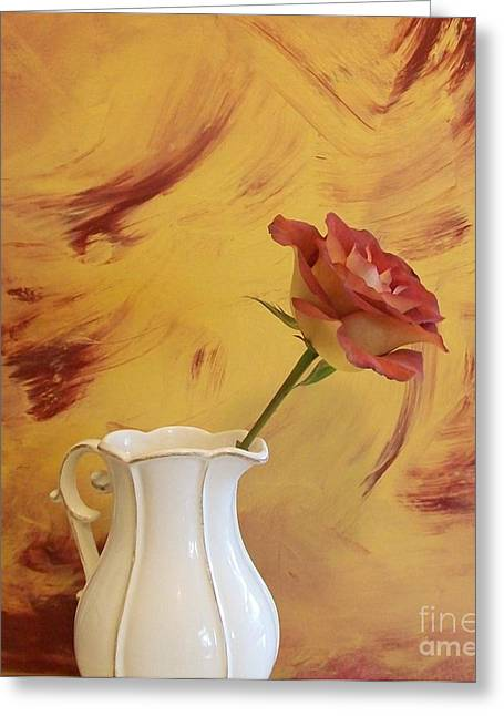 Photos With Red Photographs Greeting Cards - Rose In A Pitcher Greeting Card by Marsha Heiken