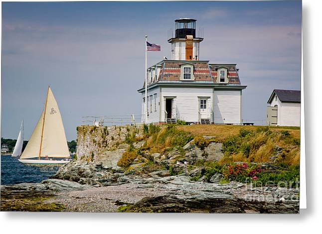 Rocky Coast Greeting Cards - Rose Island Light Greeting Card by Susan Cole Kelly
