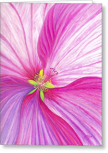 Print Pastels Greeting Cards - Rose Mallow Greeting Card by Amy Tyler
