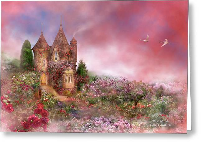 The Houses Mixed Media Greeting Cards - Rose Manor Greeting Card by Carol Cavalaris
