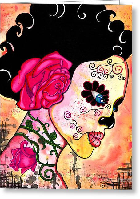 Sugar Skull Greeting Cards - Rose Noose Greeting Card by B Marie