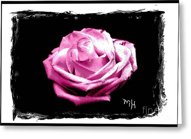 Floral Photos Greeting Cards - Rose on Black Greeting Card by Marsha Heiken