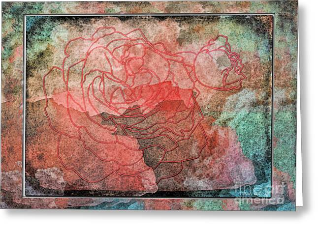 Rose Outline Abstract Greeting Card by Debbie Portwood