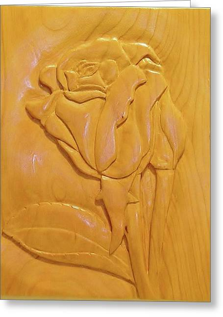 Roses Sculptures Greeting Cards - Rose Relief Greeting Card by Russell Ellingsworth