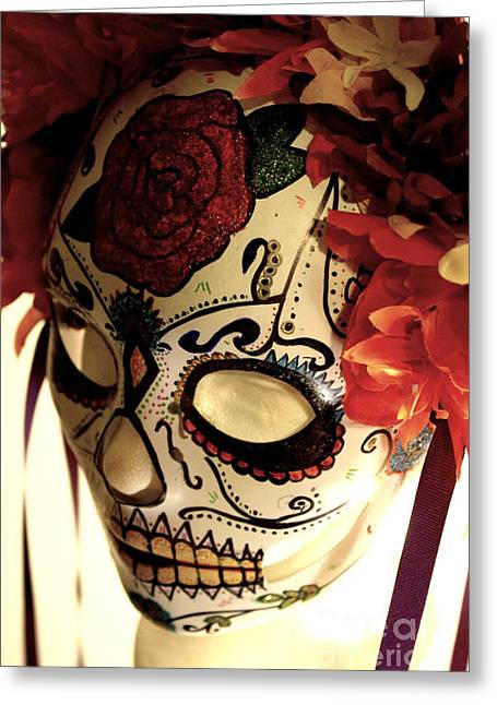Rainbow Sculptures Greeting Cards - Rose Sugar Skull Mask Greeting Card by Mitza Hurst