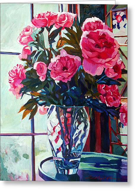 Glass Vase Paintings Greeting Cards - Rose Symphony Greeting Card by David Lloyd Glover