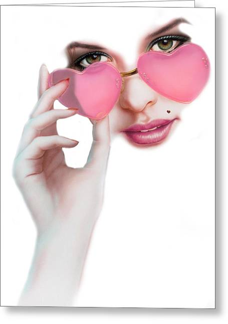 Lolita Greeting Cards - Rose Tinted Love Variant 1 Greeting Card by Andrew Farley