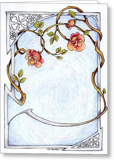 Trellis Drawings Greeting Cards - Rose Trellis Greeting Card by K M Pawelec
