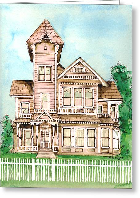 """haunted House"" Paintings Greeting Cards - Rose Victorian Inn - Arroyo Grande CA 1886 Greeting Card by Arline Wagner"