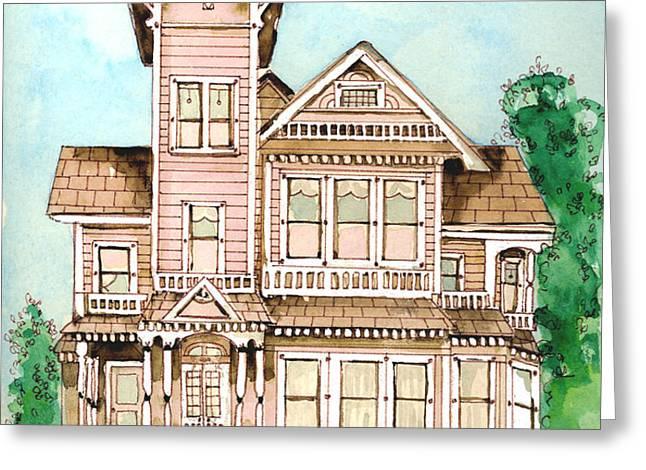 Rose Victorian Inn - Arroyo Grande CA 1886 Greeting Card by Arline Wagner