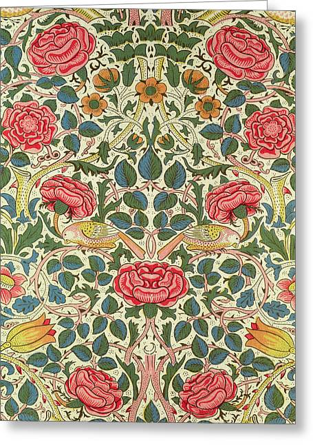 Wallpaper Tapestries Textiles Greeting Cards - Rose Greeting Card by William Morris