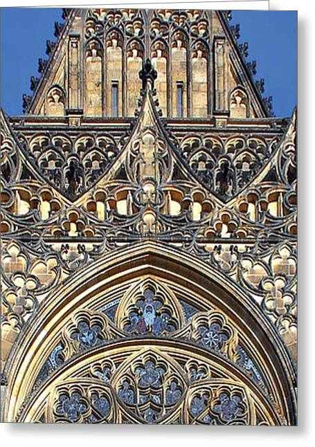 Rosette Greeting Cards - Rose Window - Exterior of St Vitus Cathedral Prague Castle Greeting Card by Christine Till