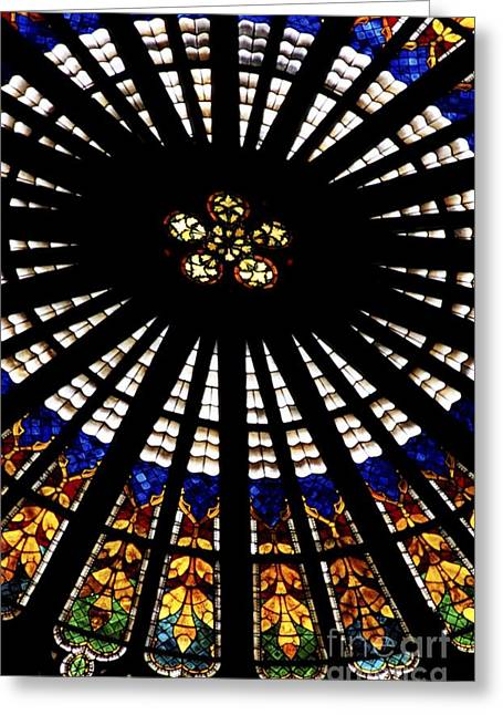 Rose Window Greeting Cards - Rose Window Cathedral Notre Dame Strasbourg France. Greeting Card by Chris  Brewington Photography LLC