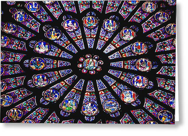 Product Photographs Greeting Cards - Rose Window In The Notre Dame Cathedral Greeting Card by Axiom Photographic