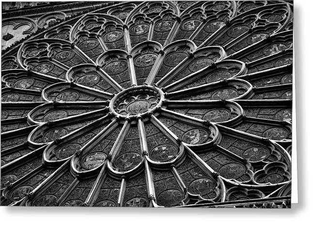 Jeka World Photography Greeting Cards - Rose Window of Notre Dame Greeting Card by Jeff Rose