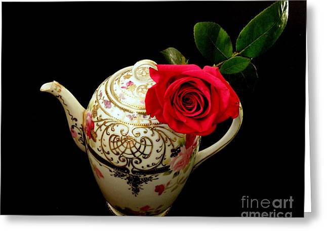 Lainie Wrightson Greeting Cards - Rose with China Teapot Greeting Card by Lainie Wrightson