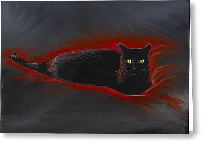 David Junod Greeting Cards - Rosemary Our Cat Greeting Card by David Junod