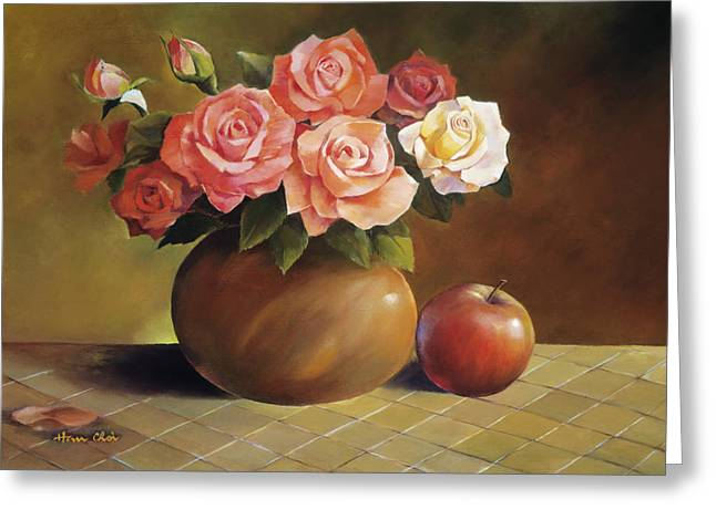 Apple Paintings Greeting Cards - Roses and Apple Greeting Card by Han Choi - Printscapes