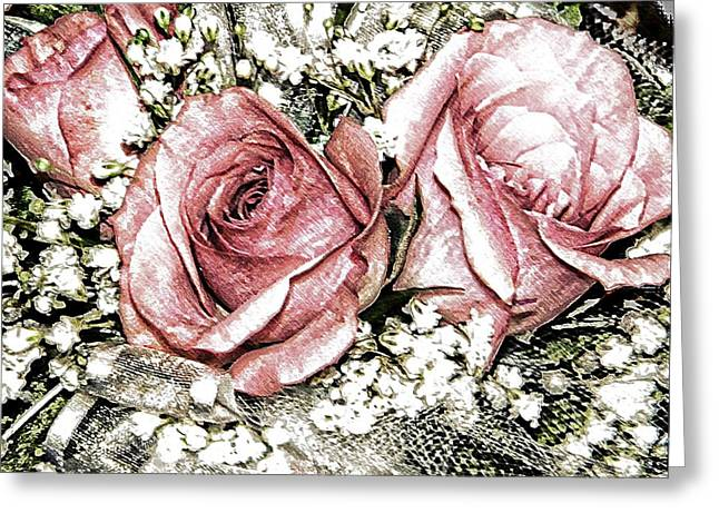 Roses And Lace Greeting Card by Michelle Frizzell-Thompson