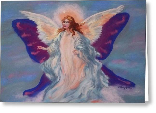 Guardian Angel Pastels Greeting Cards - Roses Angel Greeting Card by Becky Chappell