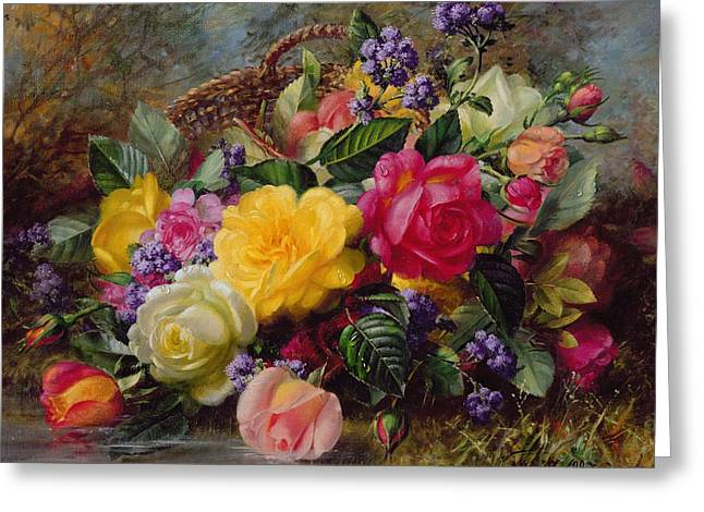 Roses Paintings Greeting Cards - Roses by a Pond on a Grassy Bank  Greeting Card by Albert Williams