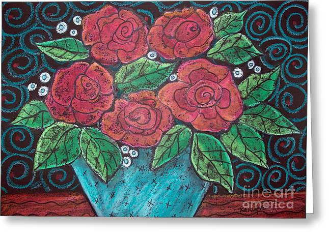 Contemporary Abstract Pastels Greeting Cards - Roses For My Honey Greeting Card by Karla Gerard