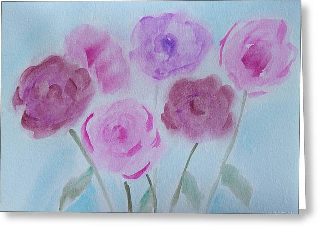 Wet In Wet Watercolor Greeting Cards - Roses Greeting Card by Heidi Smith