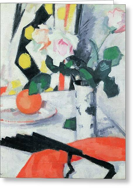Flower Still Life Greeting Cards - Roses in a Chinese Vase with Black Fan Greeting Card by Samuel John Peploe