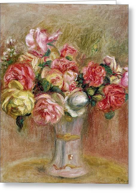 Renoir Pierre-auguste Greeting Cards - Roses in a Sevres Vase Greeting Card by Pierre Auguste Renoir