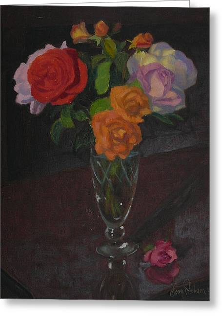 Terry Perham Paintings Greeting Cards - Roses In Glass 1982 Greeting Card by Terry Perham