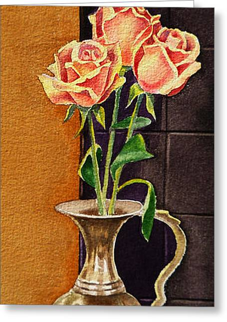 Old Master Greeting Cards - Roses In The Metal Vase Greeting Card by Irina Sztukowski